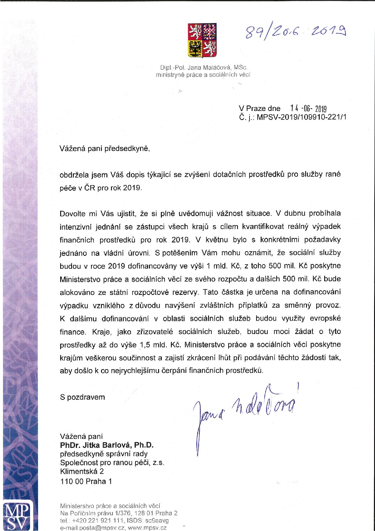 dopis ministryne